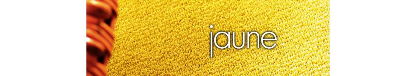 Moquette jaune en laine ou synthétique, en dalles ou lé